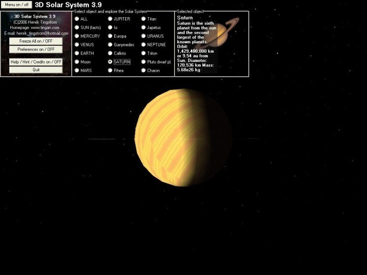 Screenshot 1 - 3D Solar System