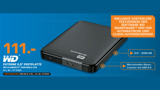 Western Digital Elements mit zwei Terabyte ©Saturn