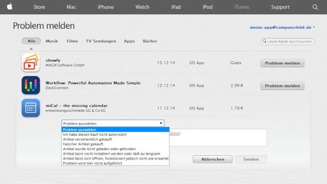 Screenshot von reportaproblem.apple.com©Apple / COMPUTERBILD
