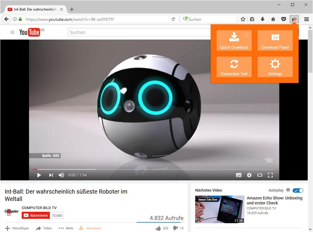 Screenshot 1 - YouTube Video and Audio Downloader für Firefox