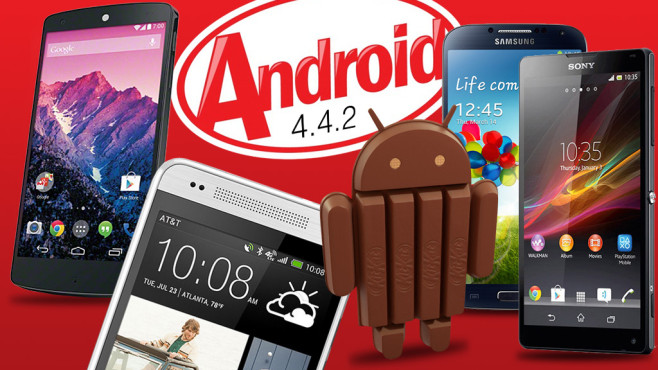 Das Android-KitKat -Logo mit dem Google Nexus 5.©Sony, Samsung, HTC, Android