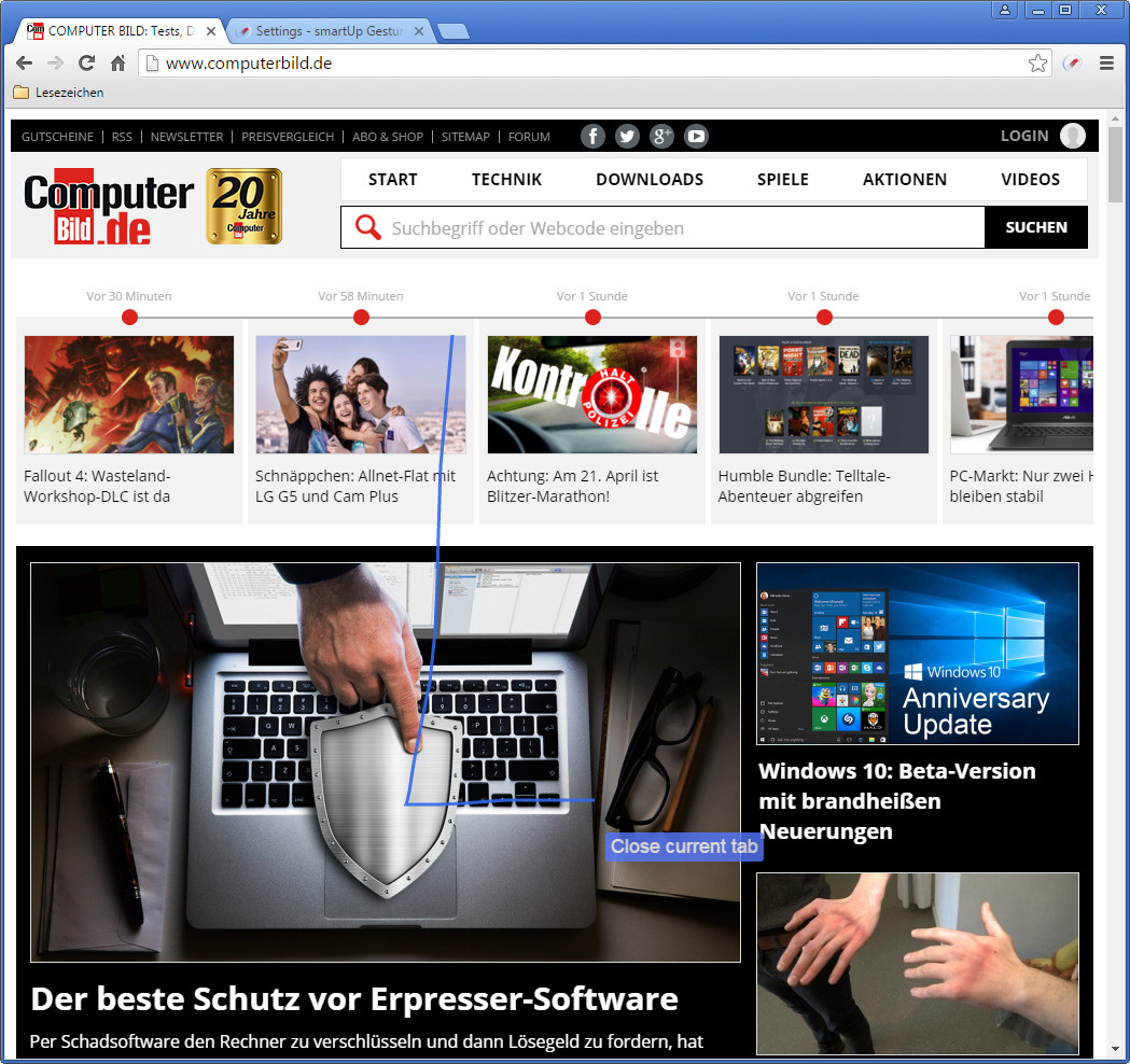 Screenshot 1 - SmartUp Gestures für Chrome