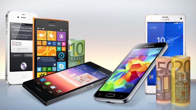 Budget-Smartphones©XtravaganT - Fotolia, gena96 - Fotolia.com, Sony; Apple, Nokia, Samsung, Huawai