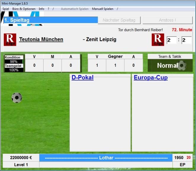 Screenshot 1 - Mini-Manager (Fußball-Manager)