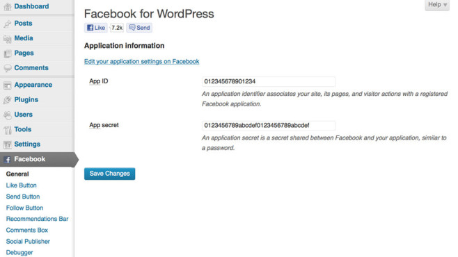 Wordpress Plug-ins: Facebook © Facebook, Wordpress