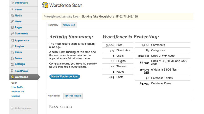 Wordpress Plug-ins: Wordfence © Wordfence, Wordpress