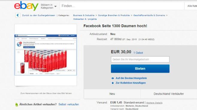 Verbotener Verkauf: Mitgliedskonten und Profile ©Screenshot: Ebay