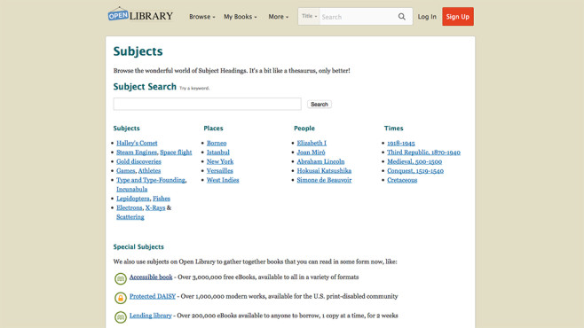 Screenshot Open Library © Internet Archive