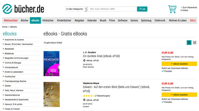 Screenshot bücher.de ©buecher.de GmbH & Co. KG