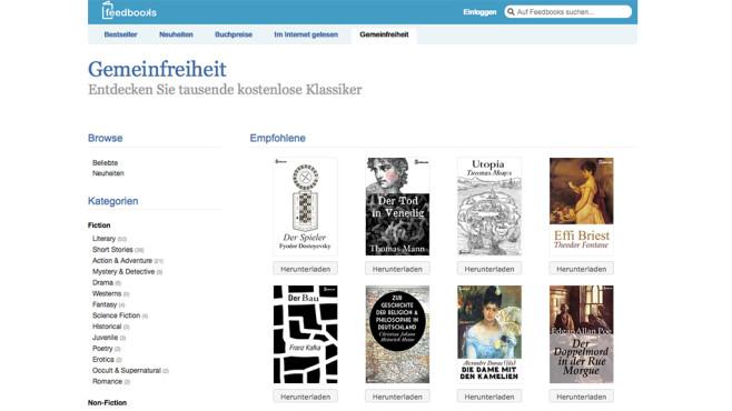 Screenshot de.feedbooks.com ©Feedbooks
