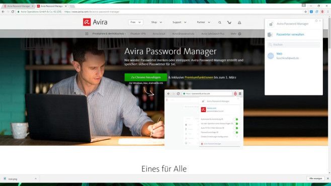 Avira Password Manager für Chrome © COMPUTER BILD, Avira