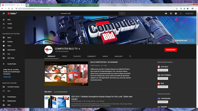 Dark Youtube Theme © COMPUTER BILD