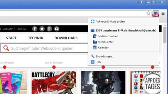 GMX MailCheck für Chrome ©COMPUTER BILD