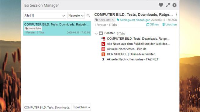 Tab Session Manager ©Sienori, COMPUTER BILD
