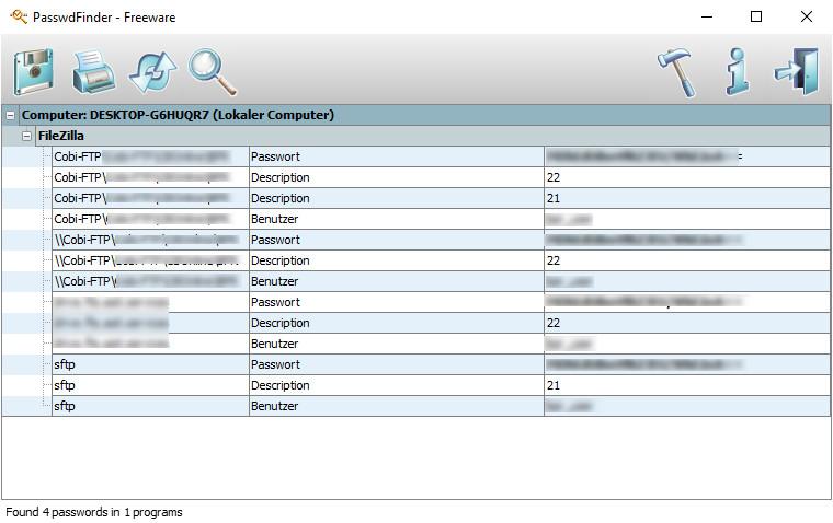 Screenshot 1 - PasswdFinder