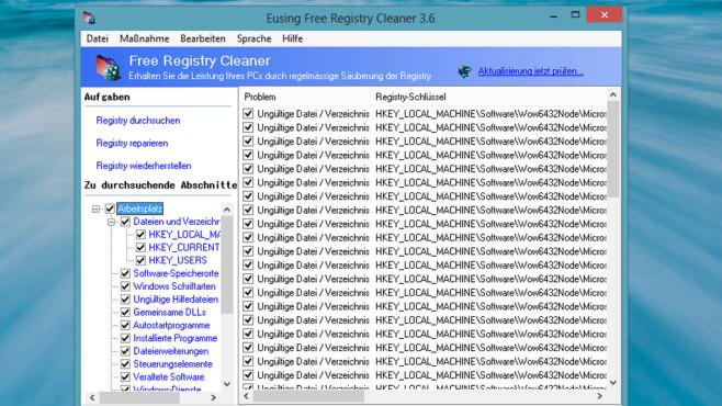 Eusing Free Registry Cleaner: Registrierungs-Datenbank entrümpeln ©COMPUTER BILD