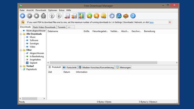 Free Download Manager: Dateien schneller herunterladen ©COMPUTER BILD