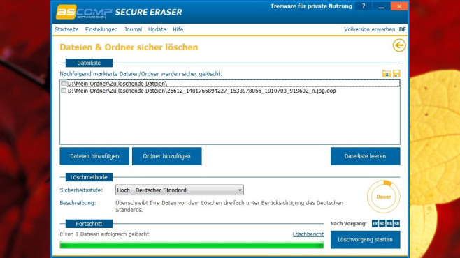 Secure Eraser: Dateien sicher löschen ©COMPUTER BILD