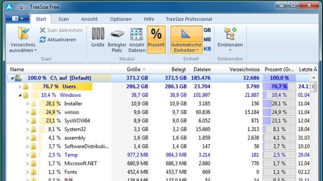 TreeSize Free: Große Dateien finden und löschen ©COMPUTER BILD