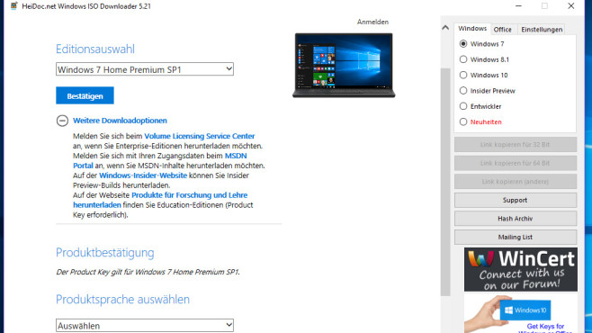 Windows ISO Downloader: Installationsabbild beschaffen © COMPUTER BILD