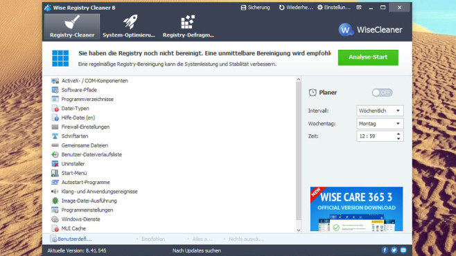 Wise Registry Cleaner Free: Registrierungs-Datenbank entschlacken © COMPUTER BILD