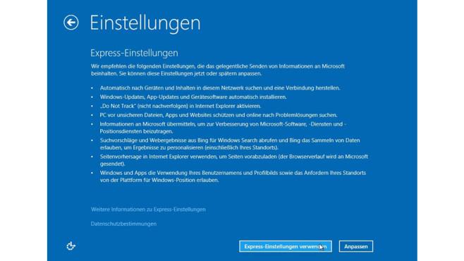 Windows 8.1 Update: Express Einstellungem ©Microsoft