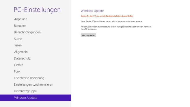 Windows 8: PC-Einstellungen ©COMPUTER BILD