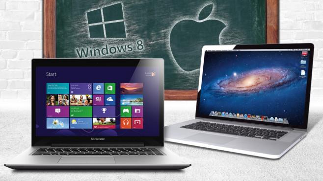Erste Schritte mit Windows 8.1 und Maverick©Microsoft, Apple, Lenovo, Burkhard Trautsch – Fotolia.com
