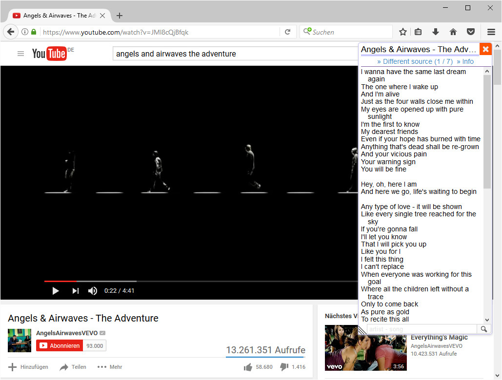 Screenshot 1 - Lyrics Here für Firefox