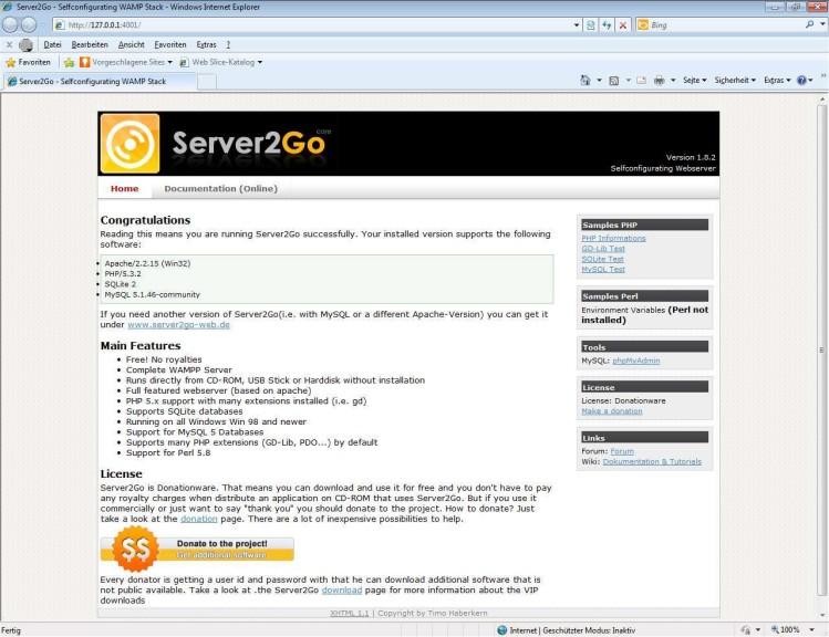 Screenshot 1 - Server2Go