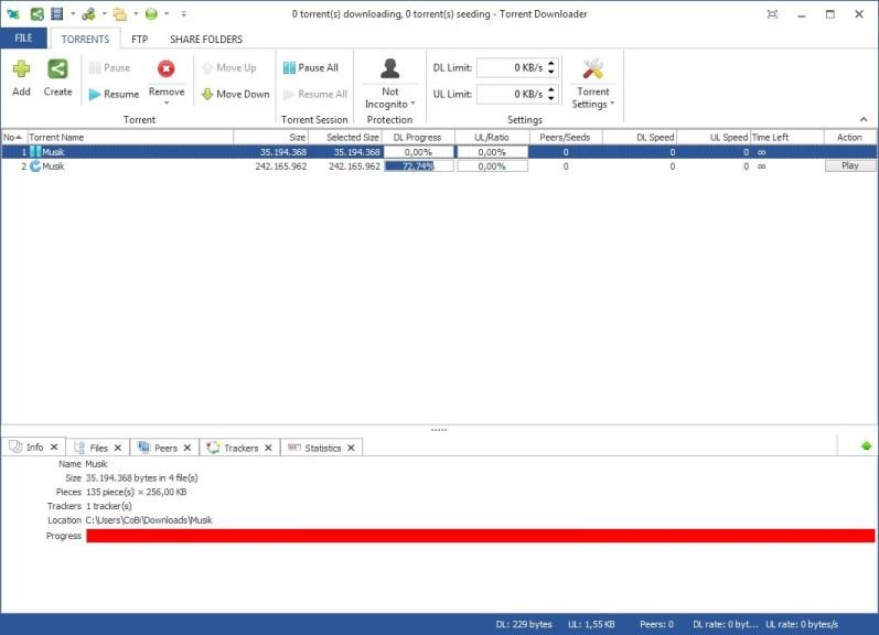 Screenshot 1 - Torrent Downloader