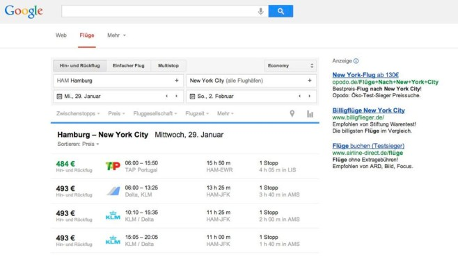 Screenshot Google Flights © COMPUTER BILD