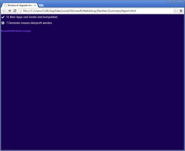 Screenshot 1 - Windows 8 Upgrade Assistent