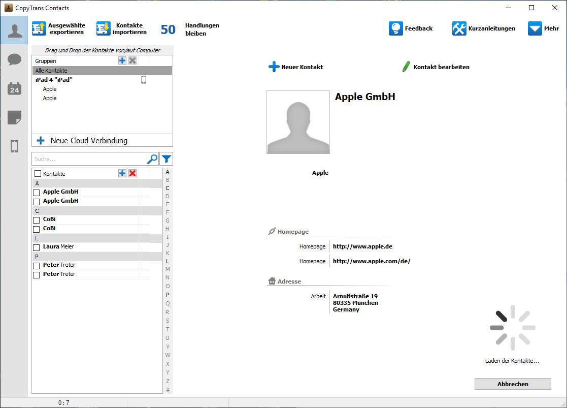 Screenshot 1 - CopyTrans Contacts