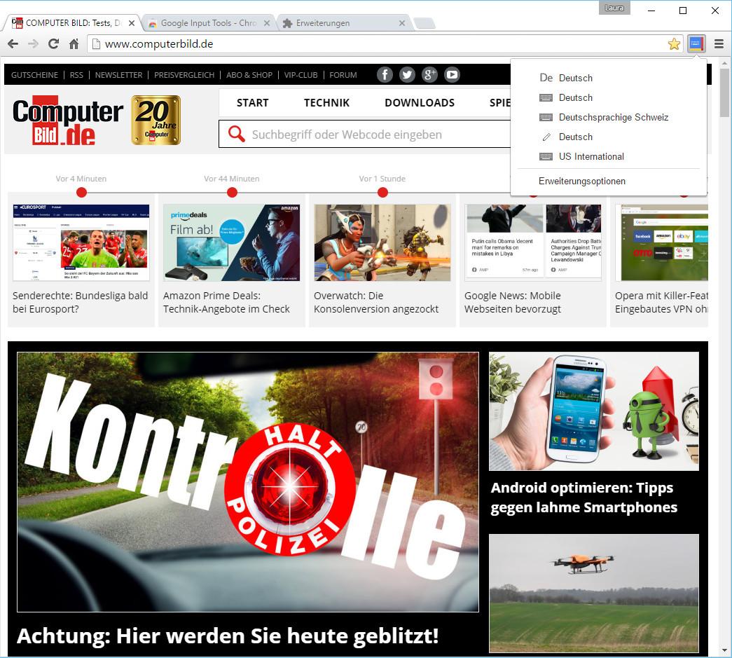 Screenshot 1 - Google Input Tools für Chrome