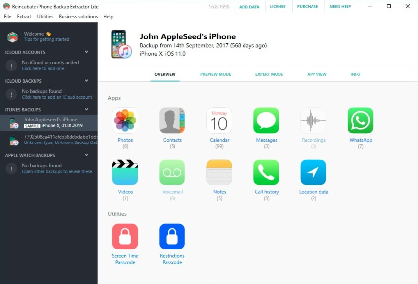 Screenshot 1 - iPhone Backup Extractor