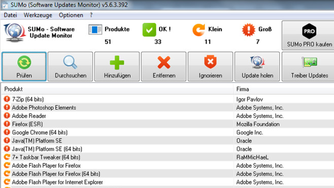 SUMo (Software Update Monitor) © COMPUTER BILD