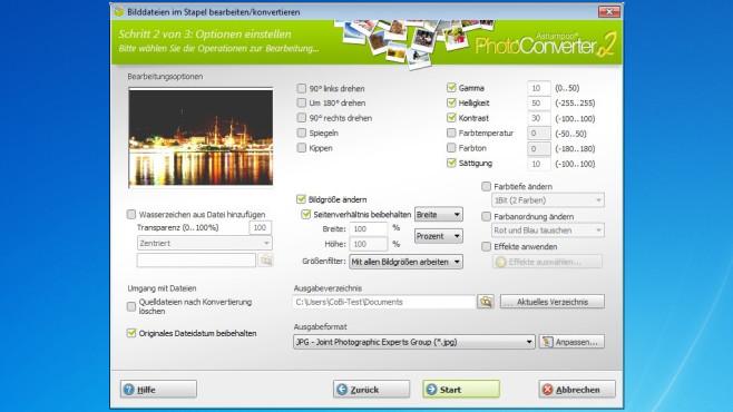 Ashampoo Photo Converter 2 – Kostenlose Vollversion: Per Assistent umwandeln ©COMPUTER BILD