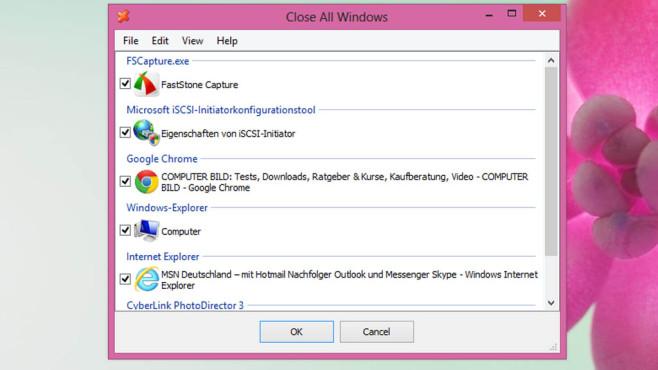 Close All: Sämtliche Fenster schließen ©COMPUTER BILD