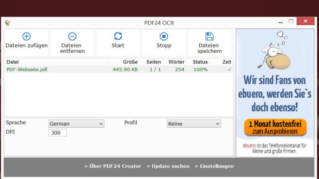 PDF24 Creator: PDF-Dateien-Text mit OCR erkennen ©COMPUTER BILD