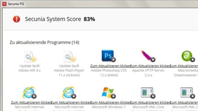 Secunia Personal Software Inspector: Programme aktualisieren ©COMPUTER BILD