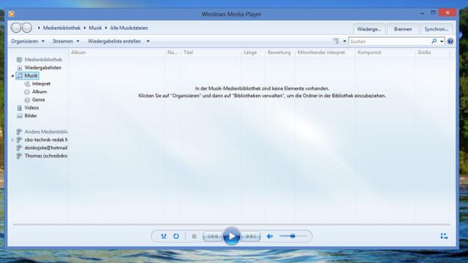 Windows Media Player: Musik- und Videodateien abspielen ©COMPUTER BILD