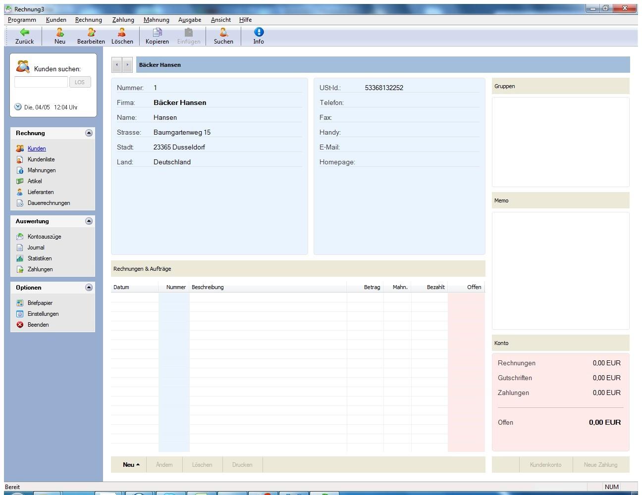 Screenshot 1 - SoftwareNetz Rechnung