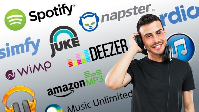 Online-Musik: Download- und Streaming-Anbieter im Vergleichstest Böse Überraschung im Test: Spotify und Simfy streamten verbotene Nazi-Musik.©Minerva Studio - Fotolia.com + Inhaber Logos