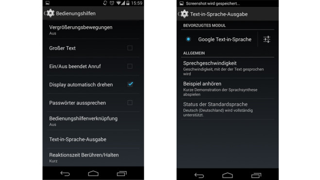 Text-in-Sprache-Status © Google