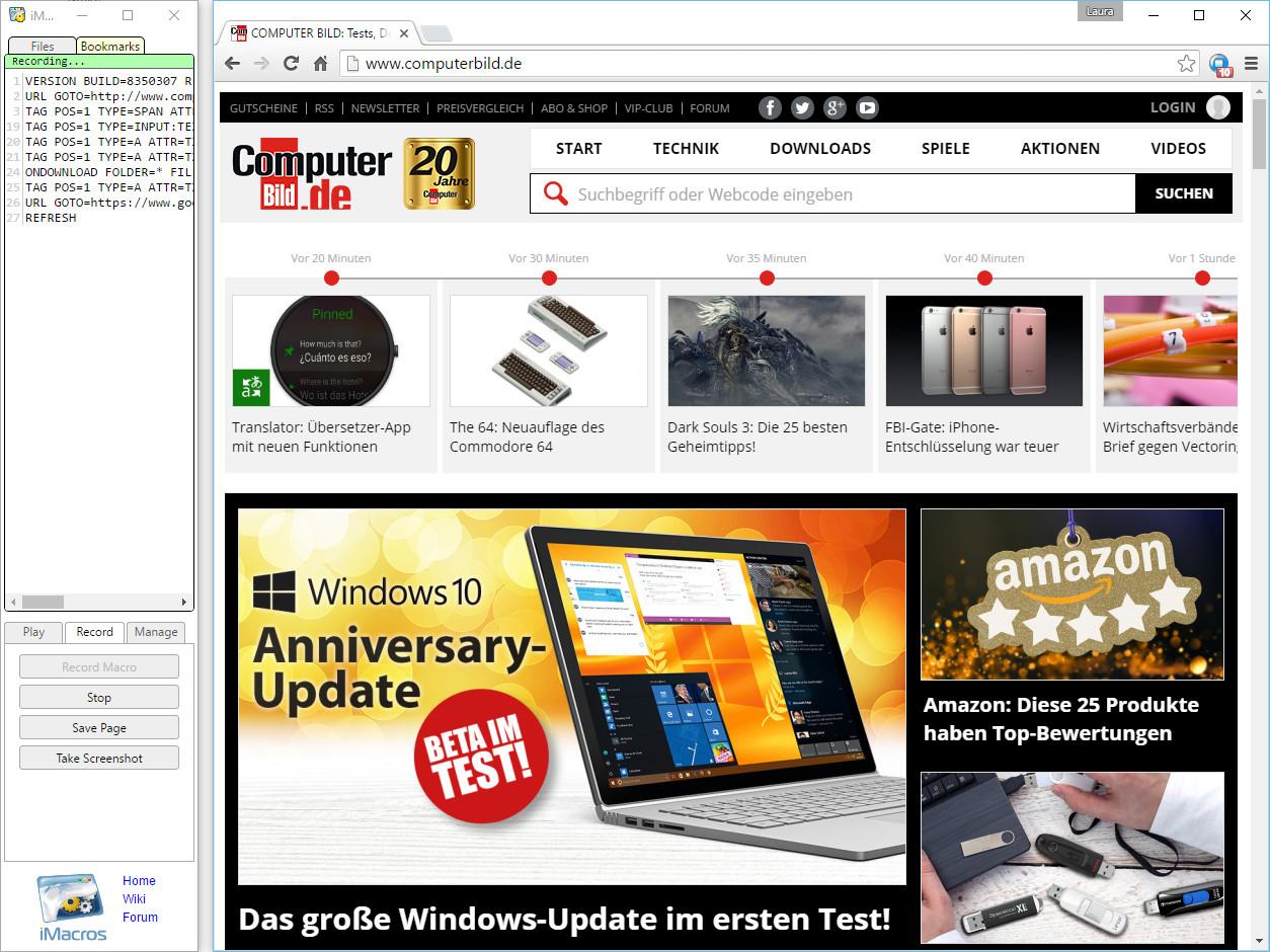Screenshot 1 - iMacros für Chrome
