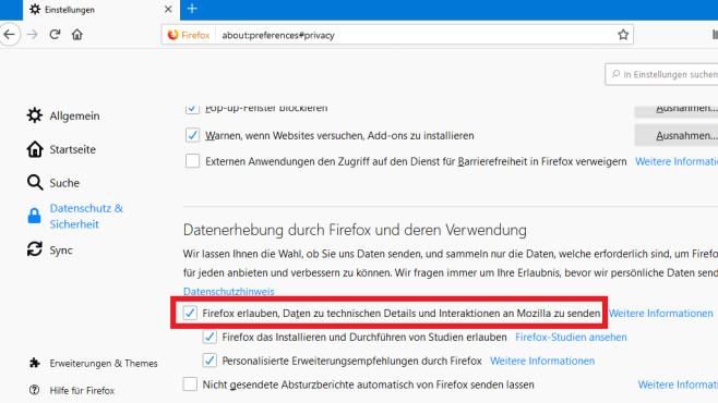 Datenversand an Mozilla unterbinden ©COMPUTER BILD