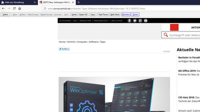 Print Edit WE: Webseiten bereinigen und drucken ©COMPUTER BILD