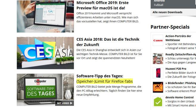 Update Scanner: Änderungen auf Webseiten hervorheben ©COMPUTER BILD