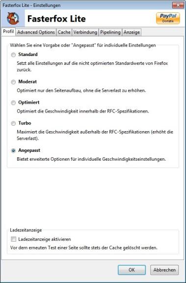 Screenshot 1 - Fasterfox Lite für Firefox